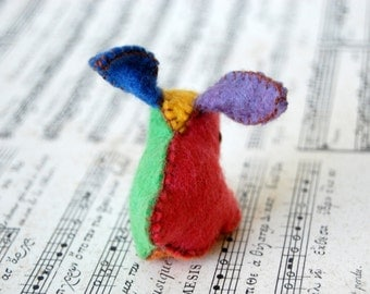 Felt Bunny Rabbit Colorful  -- Small Hand Made in Canada Pure Merino Wool Handmade Felt