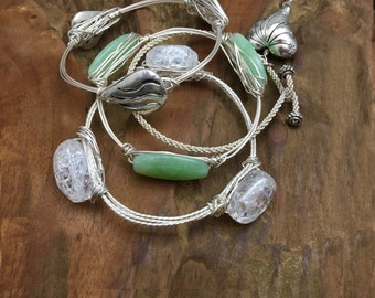 Bangle Bracelets with Real Semi-precious stone - Made in the USA