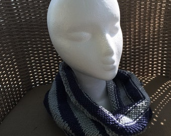 Cozy Cowl in Blue and Grey Acrylic -- for Yoga, Spiritwear, and Activewear - Ravenclaw Harry Potter