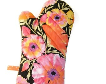 Oven Mitt - Bright Floral Potholder -Azaleas-  Gift Under 20 - Gift for Foodie
