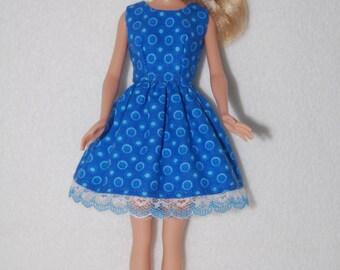 "Barbie doll dress  Blue with lace hem  A4B045 11.5"" fashion doll clothes"