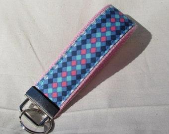 Keyfob wristlet / key chain /blue diamonds/fabric key fob