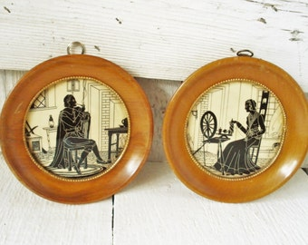 Vintage round silhouette picture set Colonial couple wood framed ivory black 4 1/2""