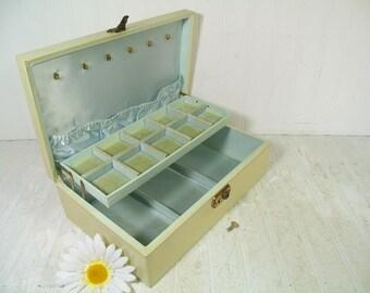 Vintage Ivory Bond St. Large Jewelry Box with Working Key & Gold Trim - Sea Foam Blue Green Satin / Velvet Interior BoHo Shabby Display Case