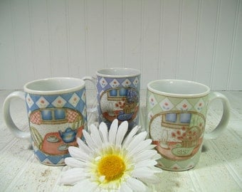 Set of 3 Ceramic Pastel Home Mugs - Vintage Coffee Cups Collection of 3 - Sisters Bridesmaids Best Friend BFF Besties Pastel 3 Coffee Mugs