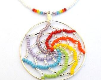Beaded Rainbow Dream Catcher Pendant Necklace