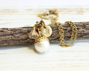 Gold Acorn Pearl Necklace with Personalized Initial and Customized Flower