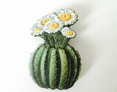 Green Cactus with White Yellow Flower Retro Dessert Plant Summer Holiday Beach Wooden Brooch Pin Birthday Gift Wood Present Unique for Her