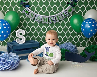 Preppy Whale First Birthday Shirt - Whale 1st Birthday Shirt - Whale Cake Smash Photo Prop - Personalized  Whale Shirt - Navy Green Whale
