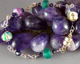 Lampwork Glass Bead Bracelet, Swarovski Crystal,  14k Gold Filled Wire Teal, Pink, purple - OOAK - Hand Crafted Artisan Jewelry