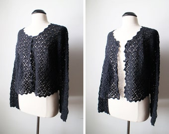 Vintage Black Boho Crochet Bell Sleeves Cardigan Ramie Cotton Blend Size L