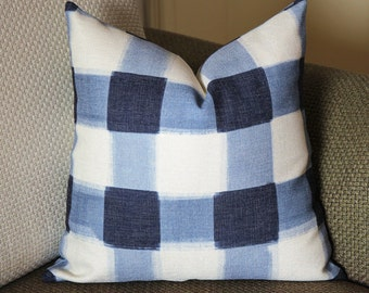 Pillows,blue pillow,Caitlin Wilson Pillow, Buffalo Check Pillow, Throw Pillows, High End Geometric Pillows, Pillow Covers 388