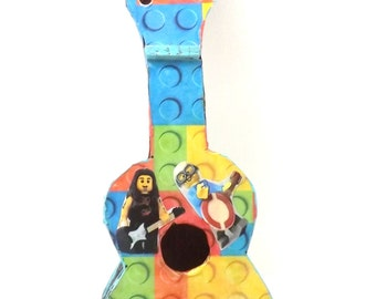 OOAK Lego inspired guitar room decor, upcycled wooden guitar, decopaged kitsch toy