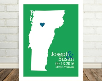 Vermont Map Vermont Wedding Gift Vermont Print Vermont Poster Couple Art  Marriage Gift Custom Wedding Map Valentines Day Gift for Him