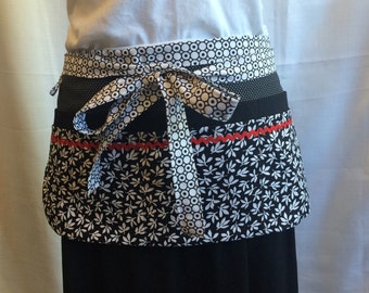 Utility Apron/Teacher Apron with 8 pockets and loop in black white with red rickrack