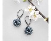 Tahitian Pearl Ball Earrings with Oxidized Sterling Silver / Swarovski Pearl Cluster Earrings