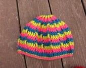 Neon Lime/Green/Hot pink Stripey Hat, crocheted
