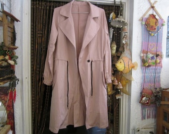 Gorgeous Dusty-Rose Shaded Casual Mid-Seasons Long Coat, Vintage - Medium