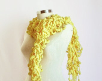 SCARVES Yellow  Pom Pom Cheerleader Knit Scarf Curly Long Scarf, gift wedding,bridial, Neckwarmer, Cowl, Necktie - Cocoon, Mulberry, Pompom