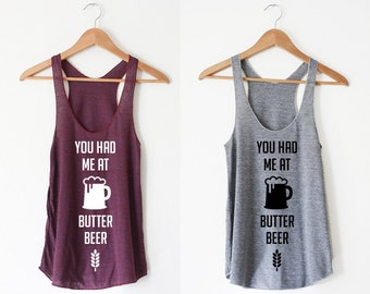 Butterbeer Women's Racerback Tank by So Effing Cute - Made in USA - inspired by Harry Potter
