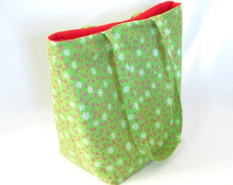 Tote Bag, Christmas Tote Bag, Cloth Purse, Candy Cane, Snowflake,  Green, Red, White, Handmade Handbag, Holiday Purse, Shoulder Bag
