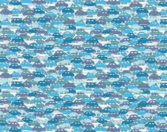 "Liberty Tana Lawn CARS - 17"" wide x 13"" (43cm x 33cm) - blue"