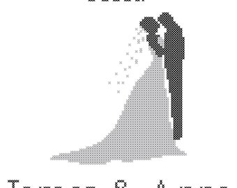 Modern Wedding Record Cross Stitch Pattern, Bride and Groom Silhouette Cross Stitch Pattern