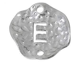 """5 Silver letter E connector Charms, Monogram E Charms, Alphabet, hammered metal, 1/2"""" diameter, domed connector links, findings, chs2362"""