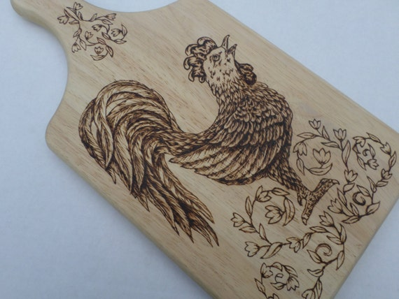Wood Burned Cutting Board With Rooster Pyrography