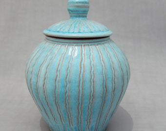 Lidded Turquoise Jar - Handmade Earthenware Pottery