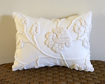 IVORY ROSE vintage chenille handmade pillow cover, ivory rose cushion cover, ivory pillow case, ivory rose lumbar pillow