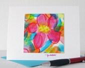 Summer Flowers Abstract Watercolor Art Notecard // Original Art