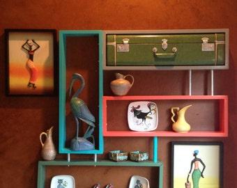 Colorful Mid-Century Modern Curio Wall Shelf Unit