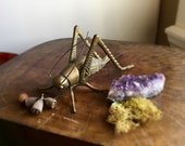 Vintage Brass Grasshopper Cricket Good Luck Symbol