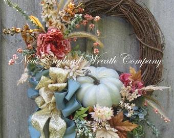 Fall Wreath, Autumn Wreath, Elegant Fall Wreath, Fall Floral, Thanksgiving, Harvest, Pumpkin Wreath, Country French Fall, Designer Wreath