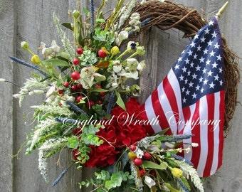 SUPER SALE Patriotic Wreath, Fourth of July Wreath, Memorial Day, Veteran's Day, Floral Wreath, Designer, Elegant Patriotic, Flag Wreath