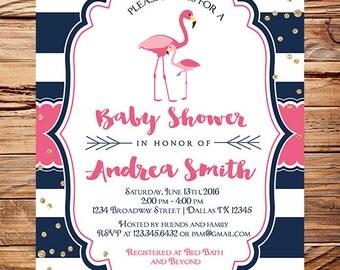 Flamingo Baby Shower Invitation, Baby shower invitation flamingo, Navy white stripes,pink flamingos, glitter confetti, 1711