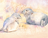 Seal print, seals painting, seals watercolor, A4 size print, S5016, beach house wall art, coastal decor, beach print, yellow art, sea life