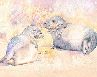 Seal print, seals painting, seals watercolor, A4 size print, S5016, beach house wall art, coastal decor, beach print, yellow art, sea life