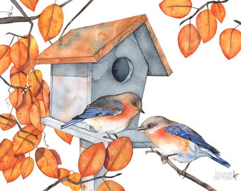 Bluebird print, bluebirds print, bluebird fall print, bluebird birdhouse print, bluebird watercolor painting print, 5 by 7 size, BB14716