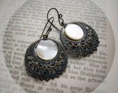 Verdigris Moons. Rustic Victorian Hoop Earrings with Mother of Pearl