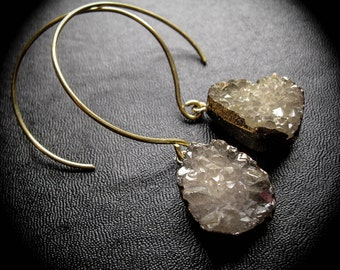 Druzy Geode Ear Weights. 14g in brass. Earth Bling Cybele's Hoops.