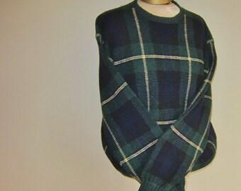 POLO wool sweater, plaid sweater, boyfriend sweater, Ralph Lauren, tartan, XL Christmas sweater, holiday wear