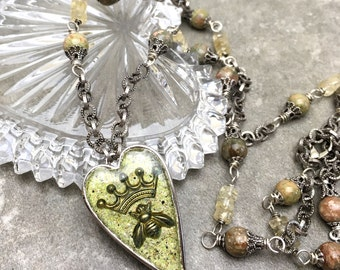 Handmade Artisan Necklace - Queen Bee Necklace - Heart Necklace -Green Enamel - Mixed Media Jewelry