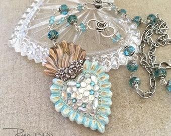 Sacred Heart Rhinestone Necklace - Mixed Media Rhinestone Ex Voto Heart Pendant Necklace - Handmade Blue Heart Necklace - Julie Ryen