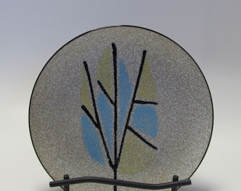 Clearance - Mid Century Modern Plate Abstract Enamel Branch & Leaves Pin Tray Trinket Dish Display