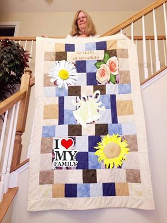 Remembering Quilt for a Grandma.  5 Fabric Photo Collages are covered to show a beautiful fabric selection.