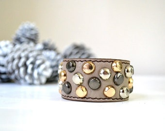 Gift For Women, Golden Silver Black Bracelet Cuff, Leather Studded Cuff, Girlfriend Gift, Leather Jewellery, Wife Gift, Leather Bracelet