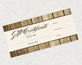 printable gift certificate, rustic wood effect business marketing promotion printable editable file or last minute gift idea christmas brown