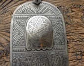 Moroccan  large tarnished hand engraved Hand  pendant with raised small hand